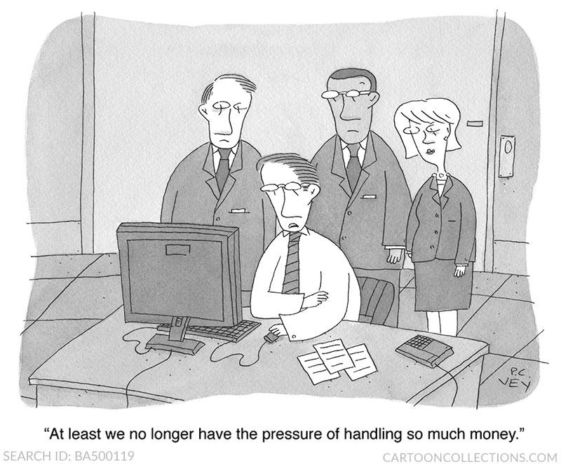 P.C. Vey cartoons, stock market cartoons