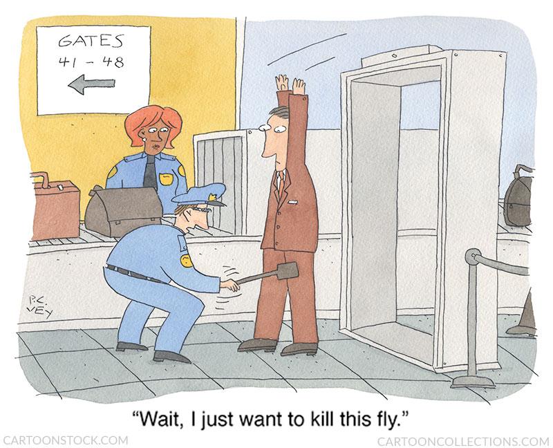 Airport security cartoons